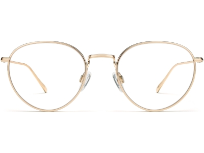 Front View Image of Ezra Eyeglasses Collection, by Warby Parker Brand, in Polished Gold Color