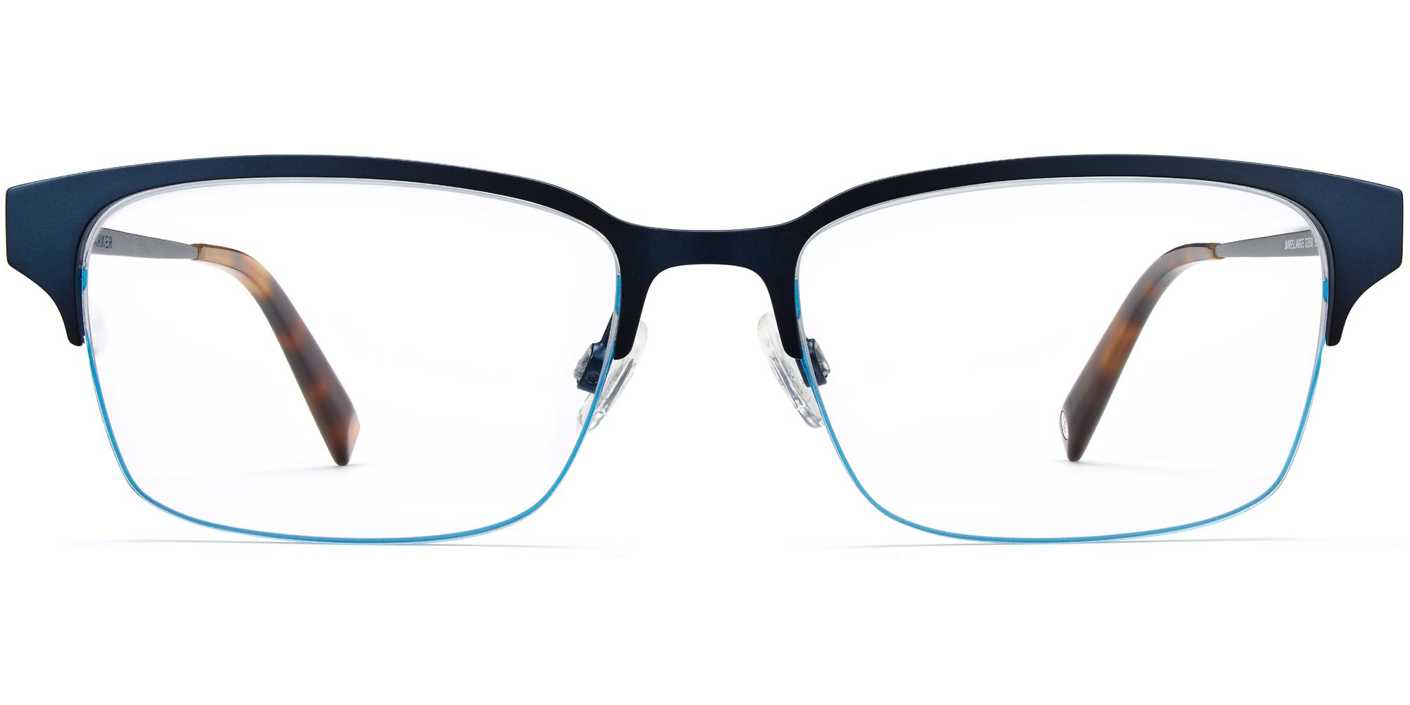 Front View Image of James Eyeglasses Collection, by Warby Parker Brand, in Brushed Navy Color