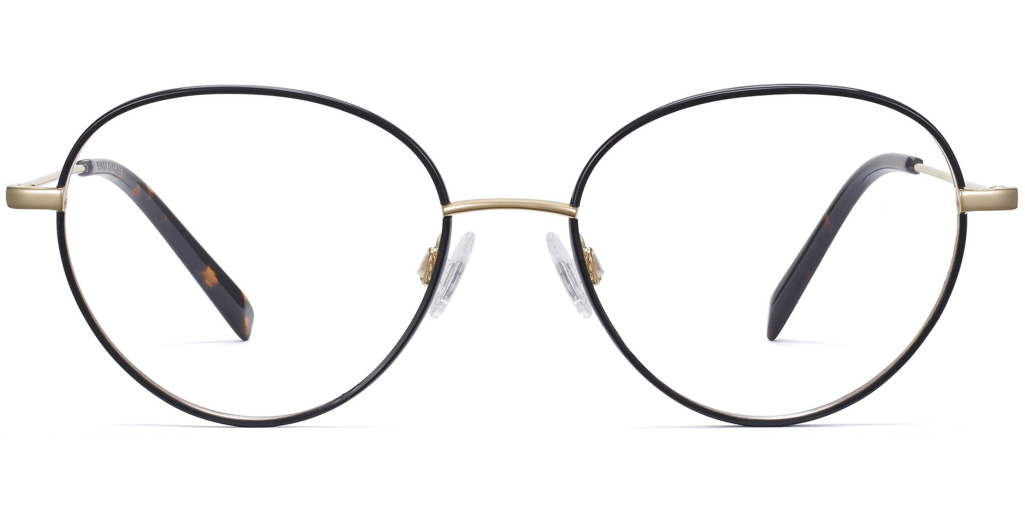 Front View Image of Arlen Eyeglasses Collection, by Warby Parker Brand, in Jet Black With Polished Gold Color