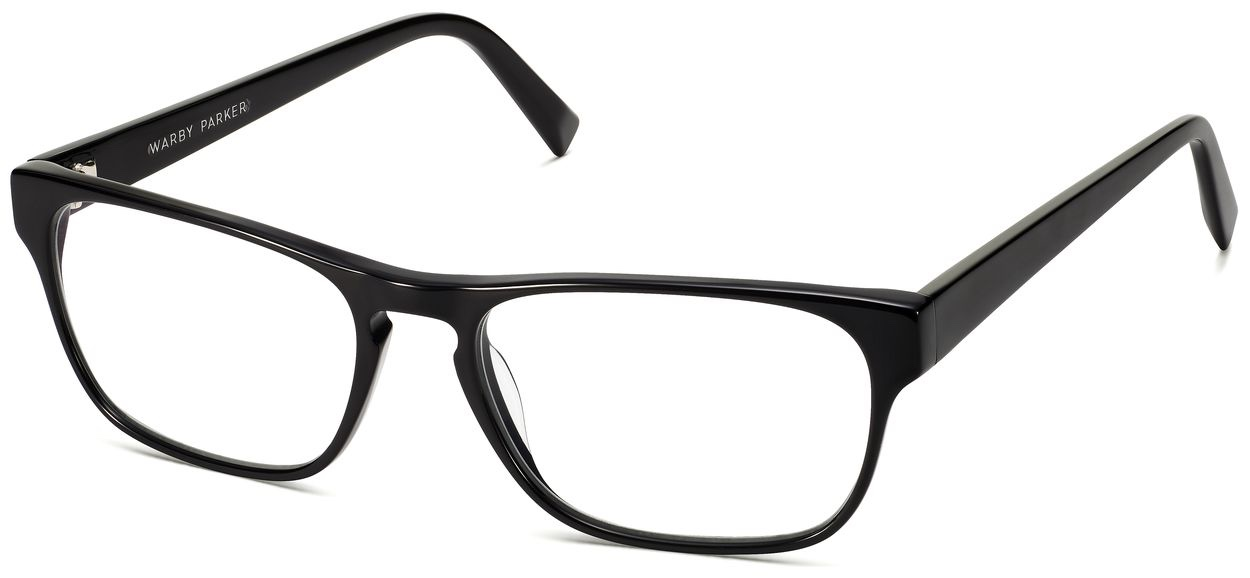 Angle View Image of Brennan Eyeglasses Collection, by Warby Parker Brand, in Jet Black Color