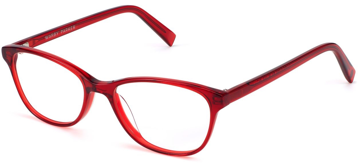 Angle View Image of Daisy Eyeglasses Collection, by Warby Parker Brand, in Cardinal Crystal Color