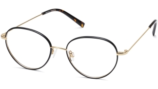 Angle View Image of Arlen Eyeglasses Collection, by Warby Parker Brand, in Jet Black With Polished Gold Color