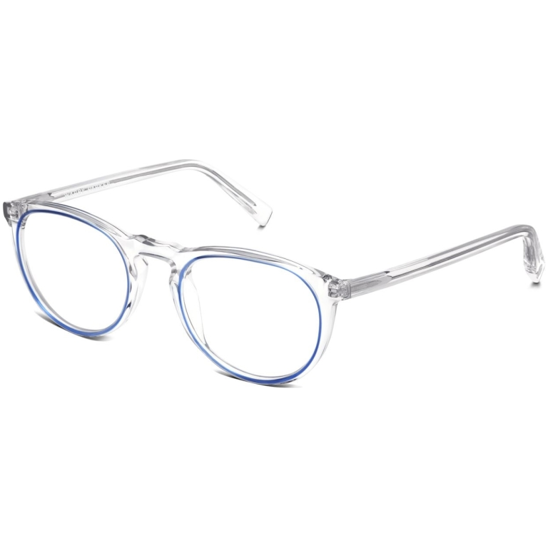 Angle View Image of Haskell Eyeglasses Collection, by Warby Parker Brand, in Crystal with Blue Jay Color