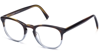 Angle View Image of Baker Eyeglasses Collection, by Warby Parker Brand, in Eastern Bluebird Fade Color