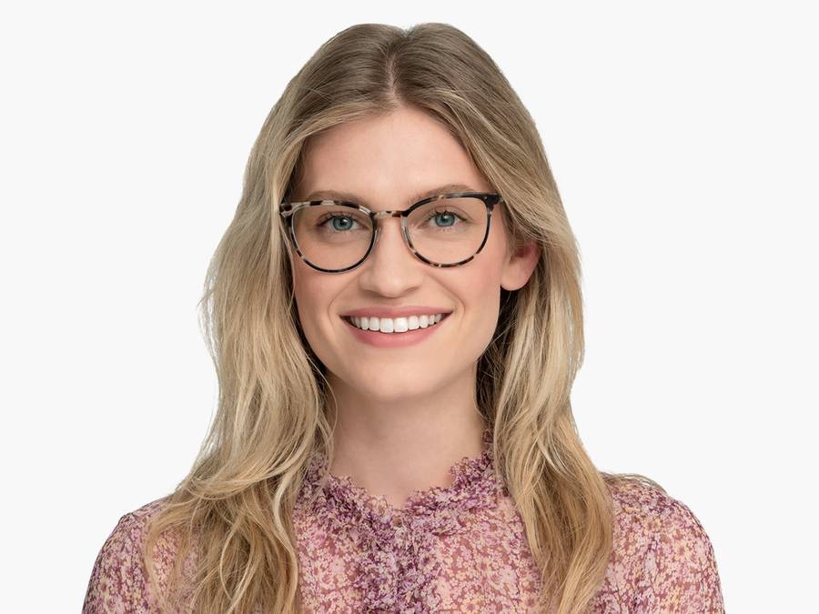 Women Model Image of Lindley Eyeglasses Collection, by Warby Parker Brand, in Pearled Tortoise with Lilac Silver Color