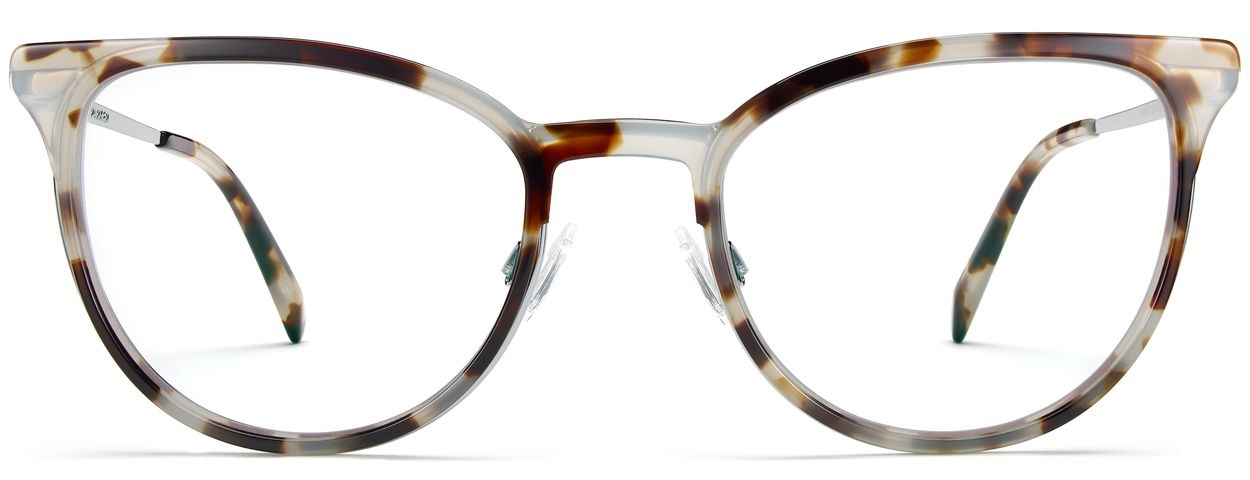 Front View Image of Lindley Eyeglasses Collection, by Warby Parker Brand, in Pearled Tortoise with Lilac Silver Color