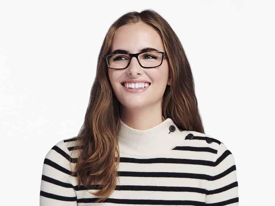 Women Model Image of Godwin Eyeglasses Collection, by Warby Parker Brand, in Oak Barrel Color