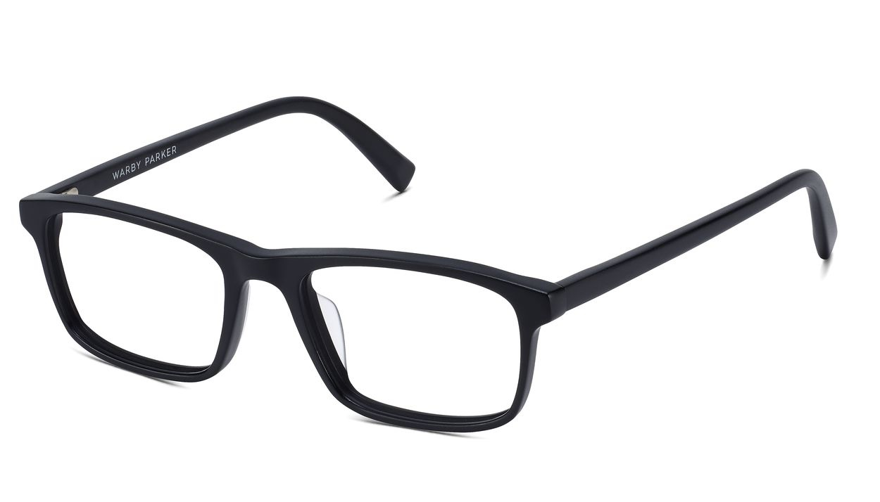 Angle VIew Image of Becton Eyeglasses Collection, by Warby Parker Brand, in Jet Black Matte Color