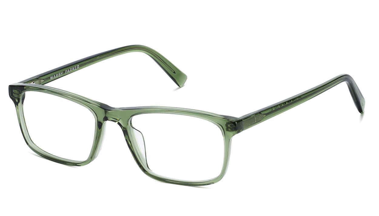 Angle View Image of Becton Eyeglasses Collection, by Warby Parker Brand, in Rosemary Crystal Color