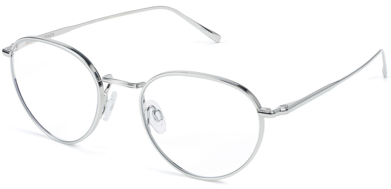 Angle View Image of Ezra Eyeglasses Collection, by Warby Parker Brand, in Burnished Silver Color