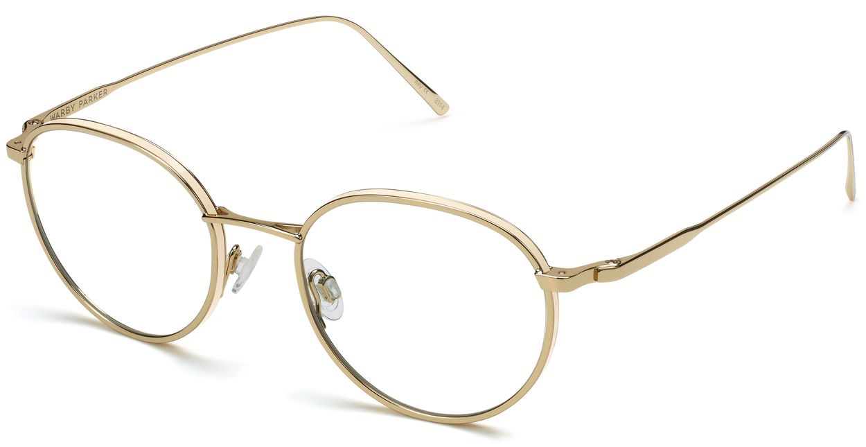 Angle View Image of Darin Eyeglasses Collection, by Warby Parker Brand, in Polished Gold Color