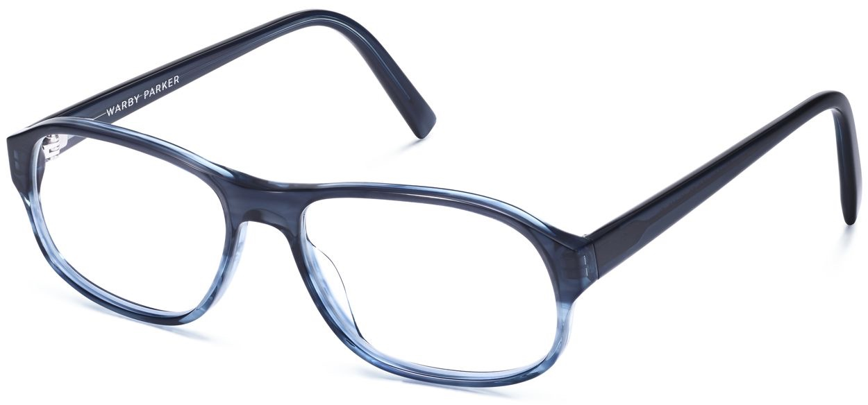 Angle View Image of Bryson Eyeglasses Collection, by Warby Parker Brand, in Blue Slate Fade Color