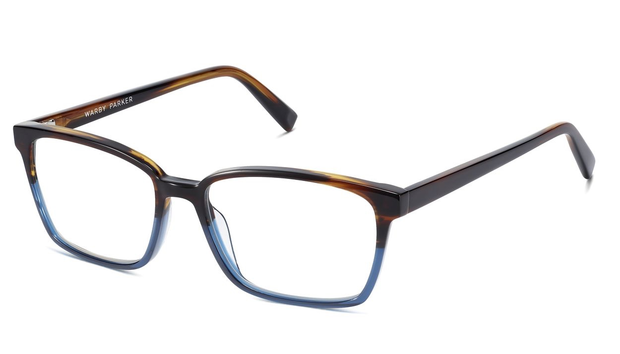 Angle View Image of Bryon Eyeglasses Collection, by Warby Parker Brand, in Aegean Blue Fade Color