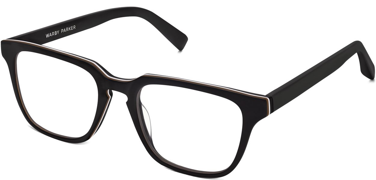 Angle View Image of Burke Eyeglasses Collection, by Warby Parker Brand, in Black Matte Eclipse Color