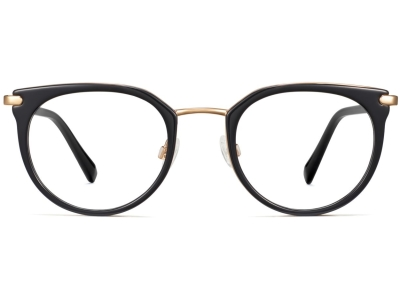 Front View Image of Whittier Eyeglasses Collection, by Warby Parker Brand, in Jet Black with Gold Color