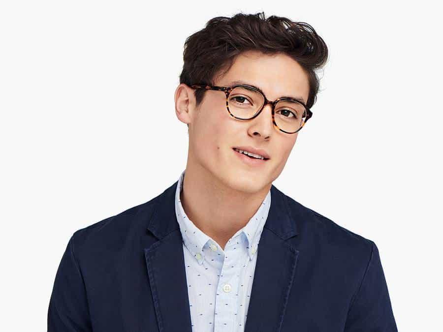 Men Model Image of Carrington Eyeglasses Collection, by Warby Parker Brand, in Saffron Tortoise Fade Color