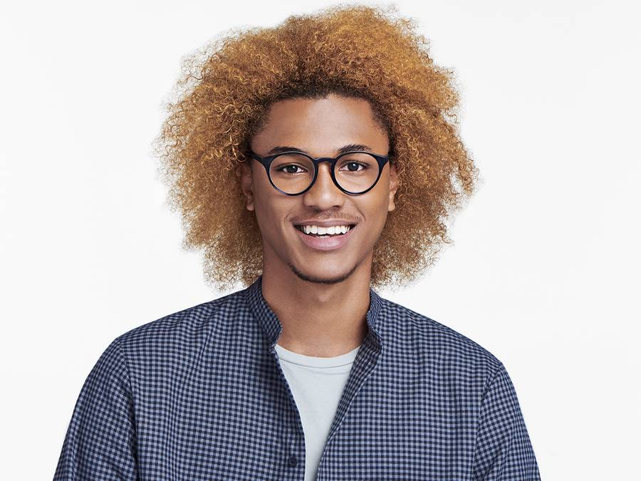 Men Model Image of Briggs Eyeglasses Collection, by Warby Parker Brand, in Layered Jet Black Crystal Color