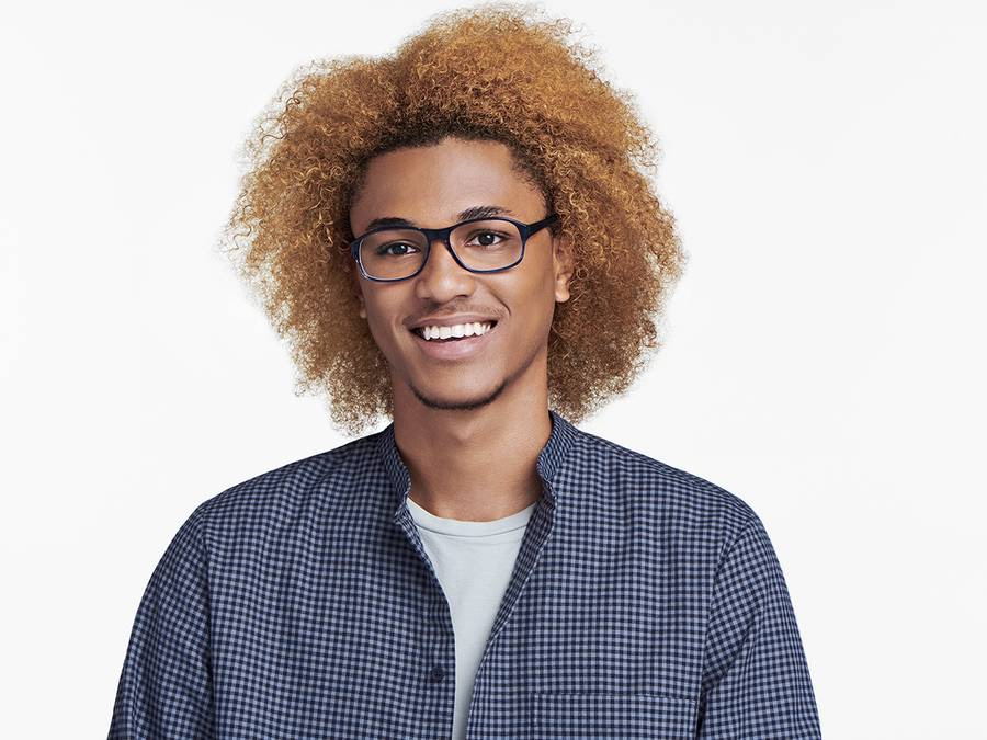 Men Model Image of Bryson Eyeglasses Collection, by Warby Parker Brand, in Blue Slate Fade Color