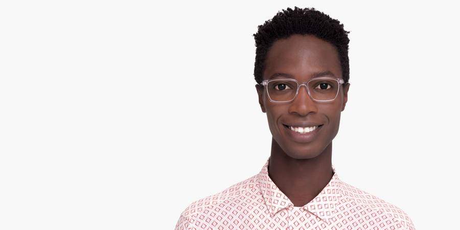 Men Model Image of Bryon Eyeglasses Collection, by Warby Parker Brand, in Crystal Color