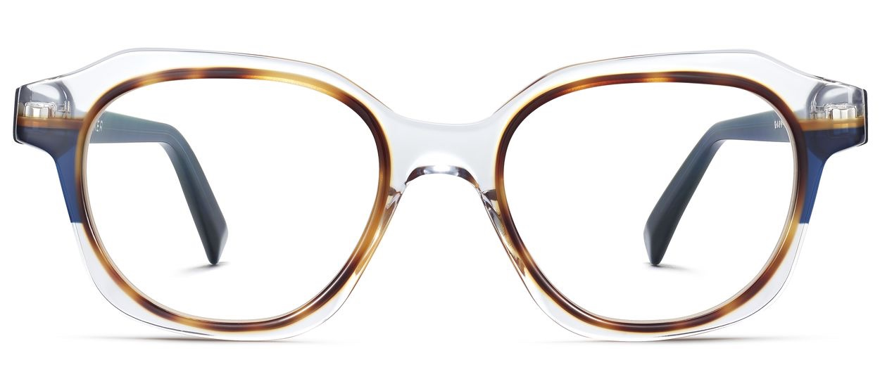 Front View Image of Darrow Eyeglasses Collection, by Warby Parker Brand, in Crystal with Oak Barrel and Blue Bay Color