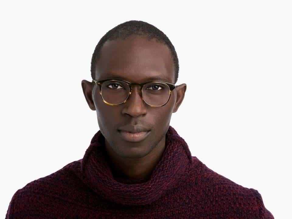 Men Model Image of Baker Eyeglasses Collection, by Warby Parker Brand, in Striped Sassafras Color