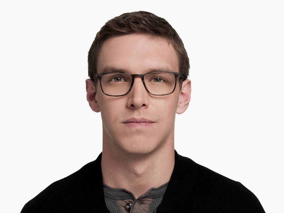 Men Model Image of Bensen Eyeglasses Collection, by Warby Parker Brand, in Greystone Color