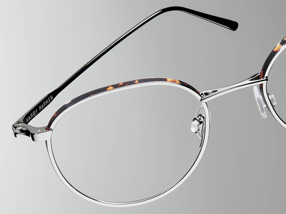 Accessories Image of Darin Eyeglasses Collection, by Warby Parker Brand, in Polished Silver with Whiskey Tortoise Matte Color