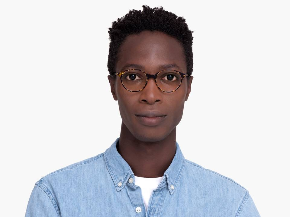 Men Model Image of Farris Eyeglasses Collection, by Warby Parker Brand, in Mesquite Tortoise Color