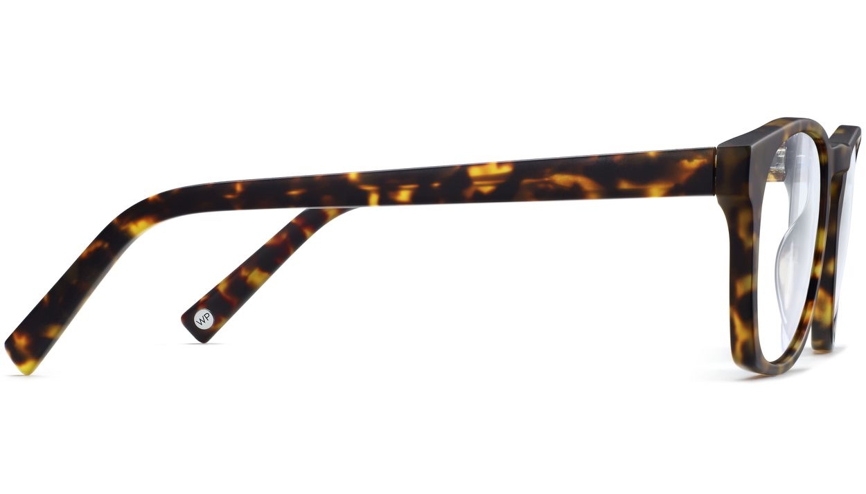 Side View Image of Topper Eyeglasses Collection, by Warby Parker Brand, in Hazelnut Tortoise Matte Color