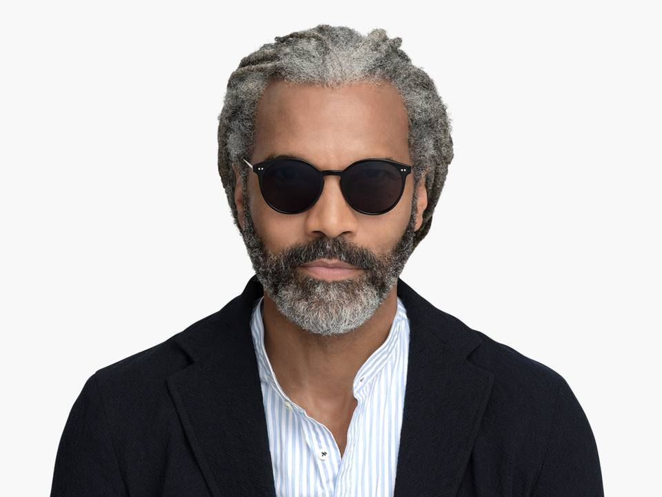 Men Model Image of Langley Sunglasses Collection, by Warby Parker Brand, in Jet Black with Polished Gold Color