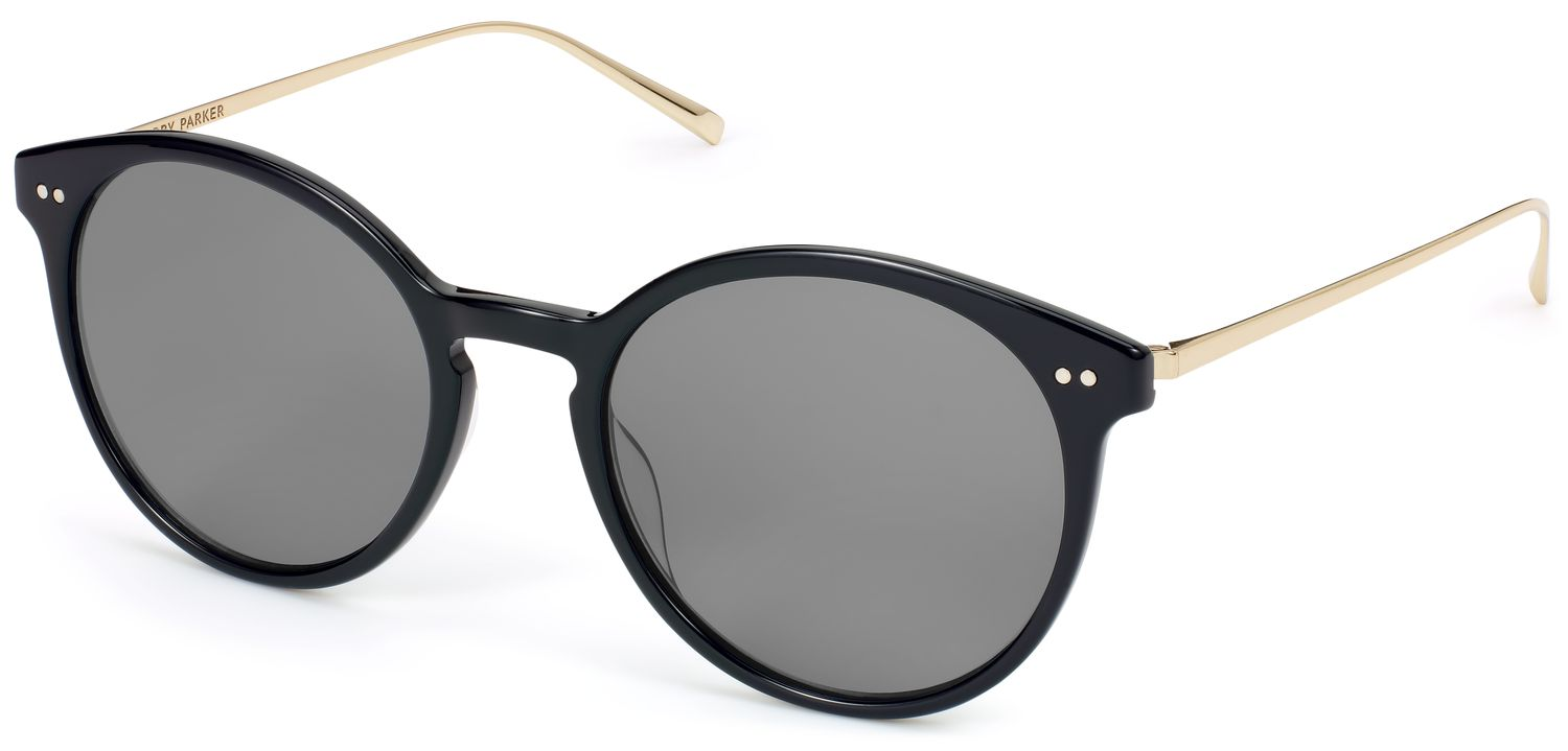 Angle View Image of Langley Sunglasses Collection, by Warby Parker Brand, in Jet Black with Polished Gold Color