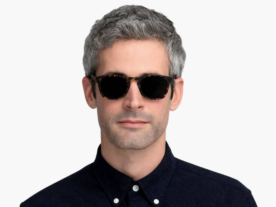 Men Model Image of Topper Sunglasses Collection, by Warby Parker Brand, in Hazelnut Tortoise Matte Color
