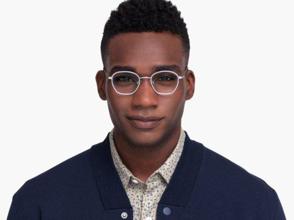 Men Model Image of Larsen Eyeglasses Collection, by Warby Parker Brand, in Antique Blue with Polished Silver Color
