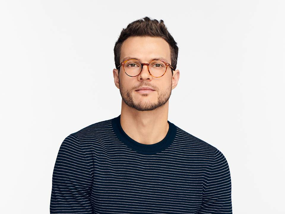 Men Model Image of Morgan Eyeglasses Collection, by Warby Parker Brand, in Mesa Tortoise Color