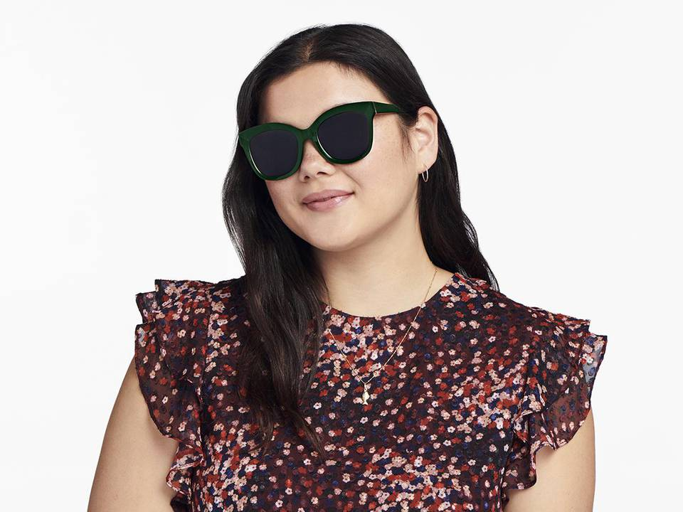 Women Model Image of Ada Sunglasses Collection, by Warby Parker Brand, in Forest Green Color