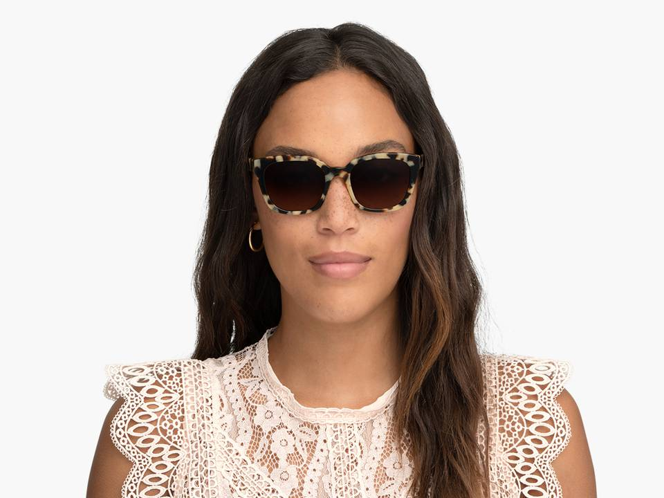 Women Model Image of Aubrey Sunglasses Collection, by Warby Parker Brand, in Marzipan Tortoise Color
