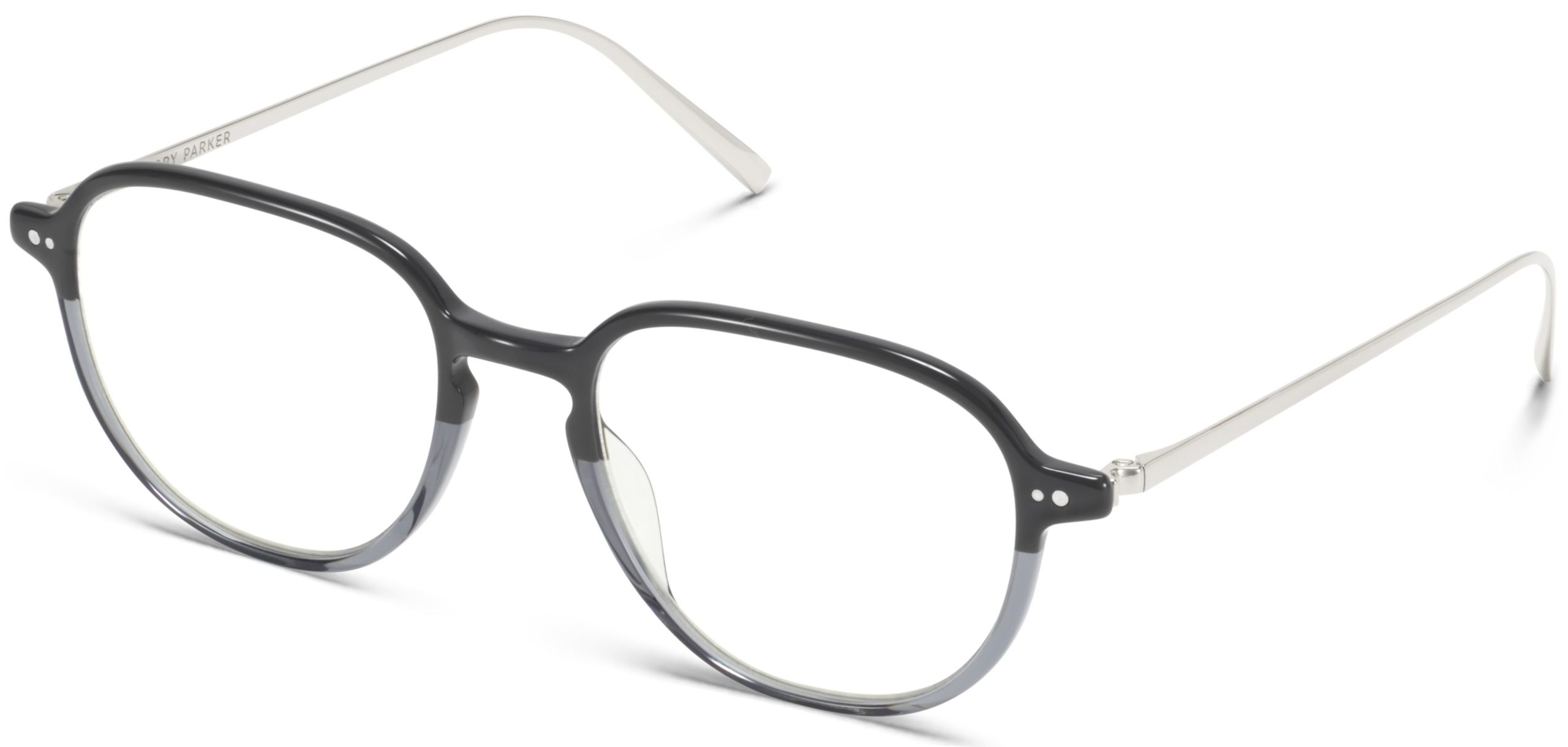 Angle View Image of Beasley Eyeglasses Collection, by Warby Parker Brand, in Stone Fade with Polished Silver Color
