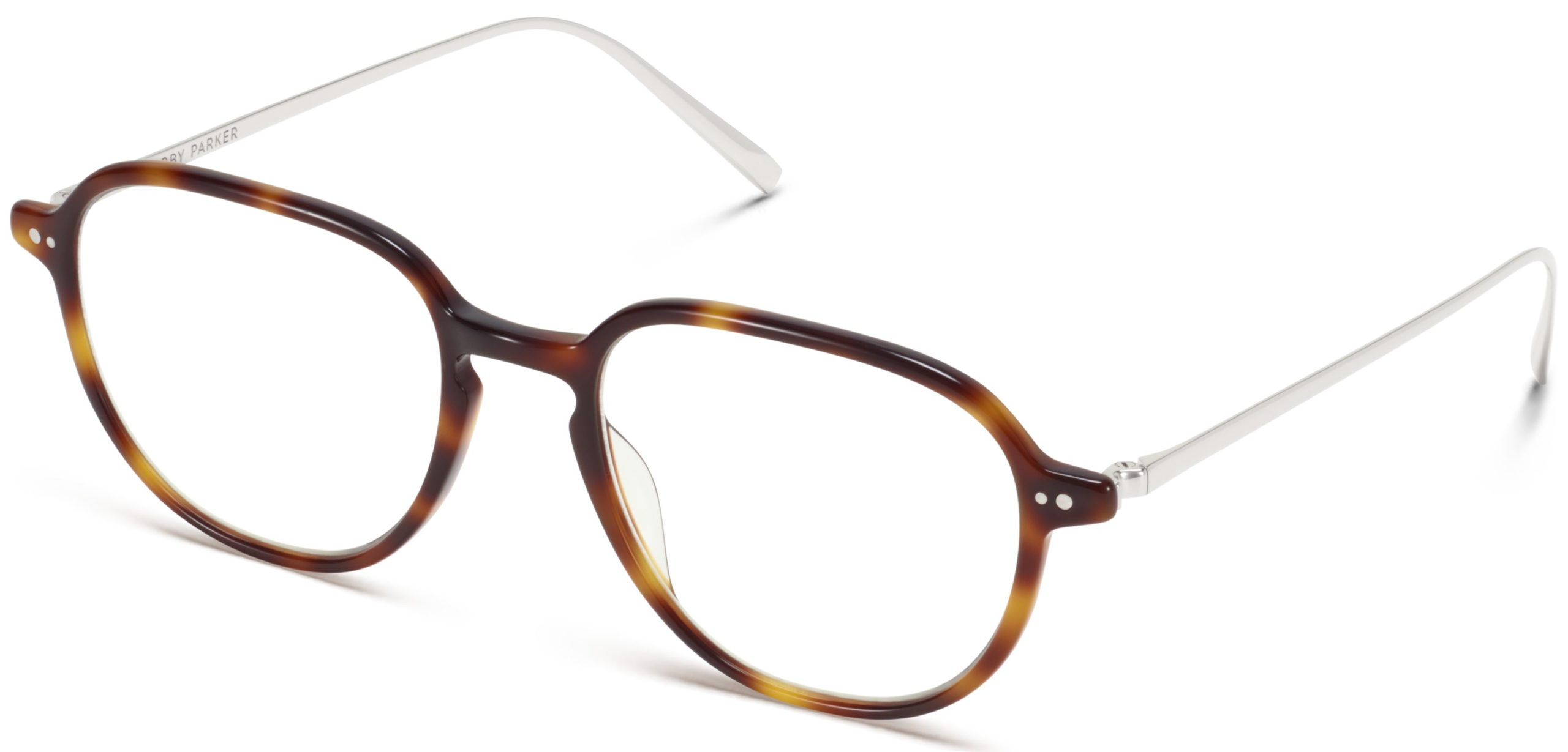 Angle View Image of Beasley Eyeglasses Collection, by Warby Parker Brand, in Woodgrain Tortoise with Polished Silver Color