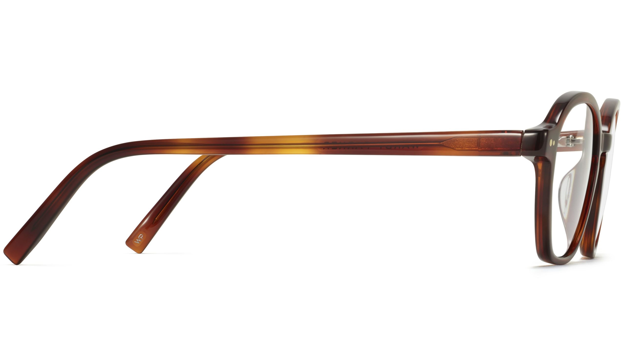 Side View Image of Britten Eyeglasses Collection, by Warby Parker Brand, in Amber Tortoise Color