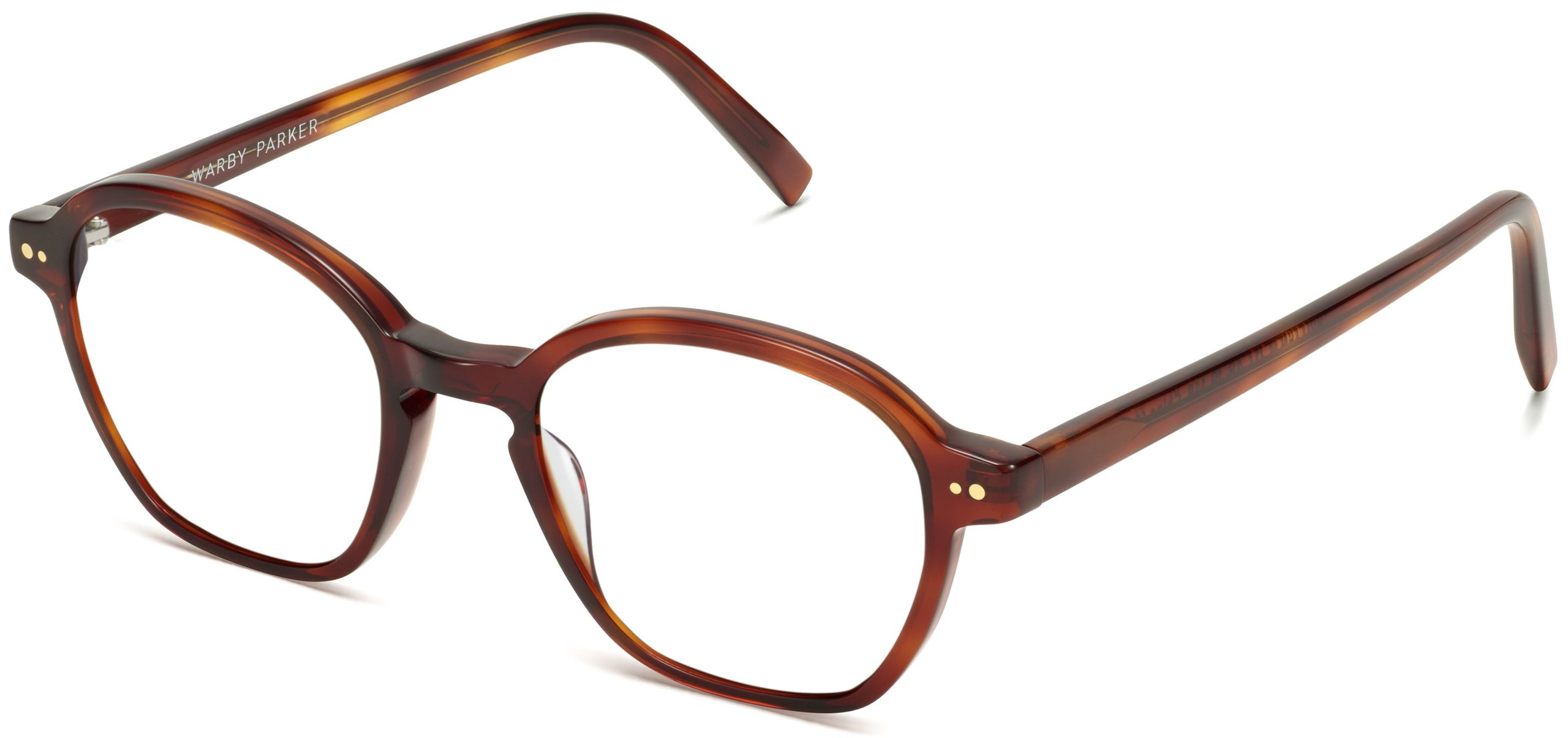 Angle View Image of Britten Eyeglasses Collection, by Warby Parker Brand, in Amber Tortoise Color