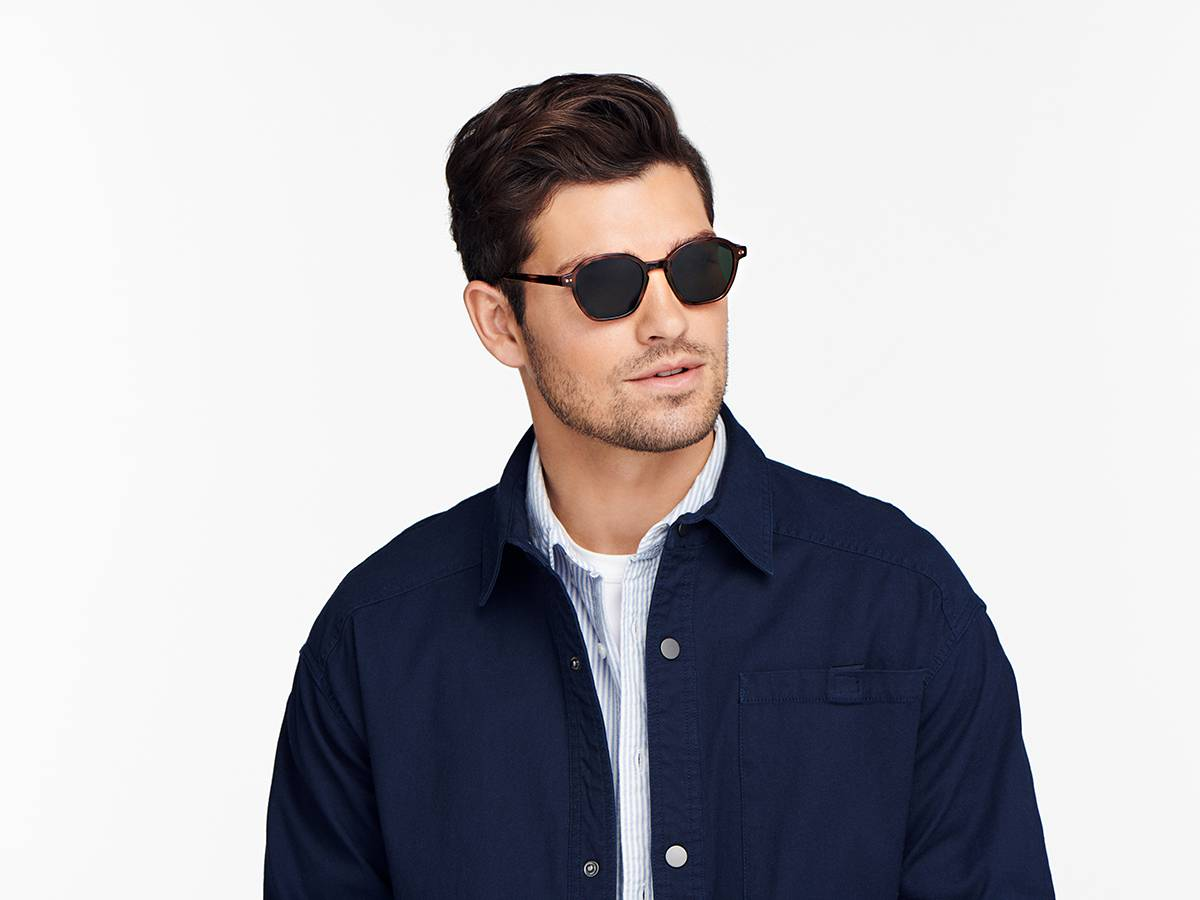 Men Model Image of Britten Sunglasses Collection, by Warby Parker Brand, in Amber Tortoise Color