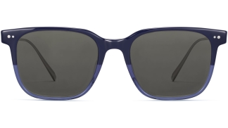 Front View Image of Caleb Sunglasses Collection, by Warby Parker Brand, in Midnight Fade with Polished Silver Color