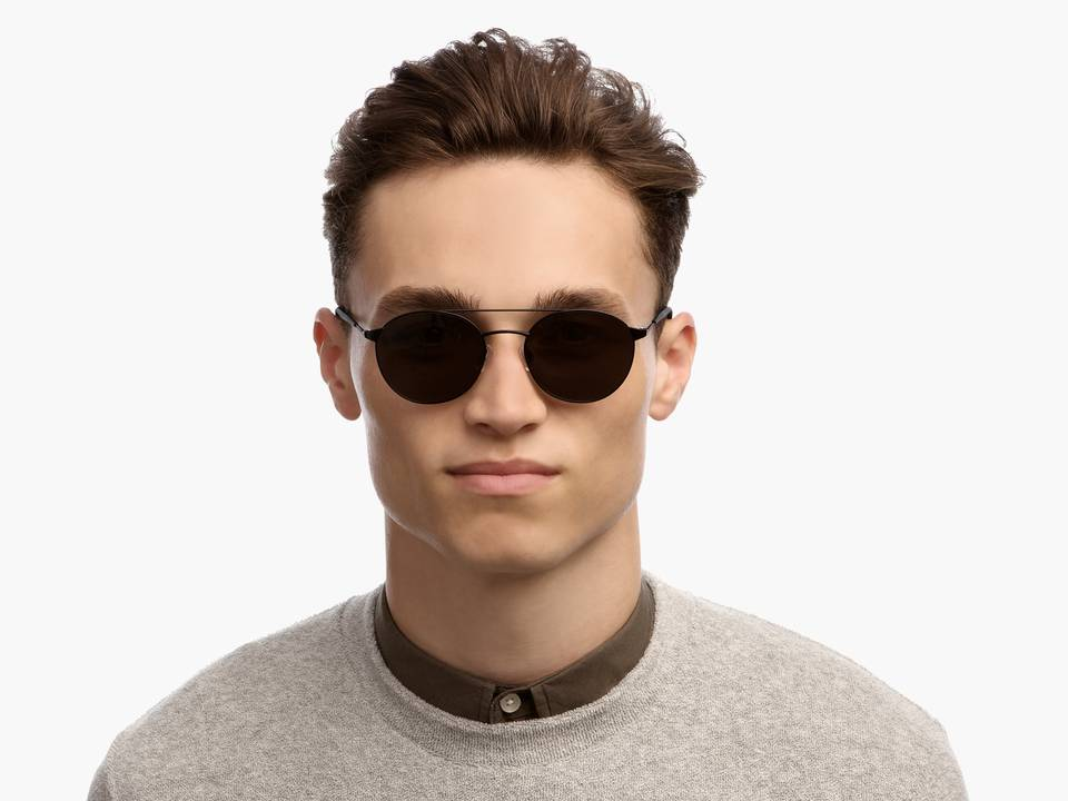 Men Model Image of Fisher Sunglasses Collection, by Warby Parker Brand, in Brushed Ink Color