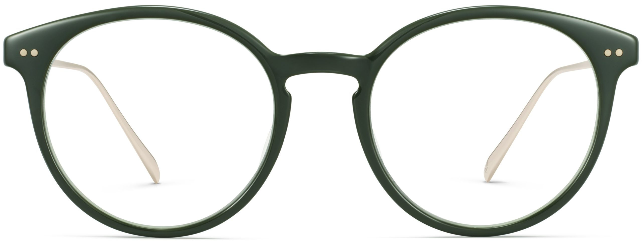 Front View Image of Langley Eyeglasses Collection, by Warby Parker Brand, in Magnolia Green with Polished Gold Color