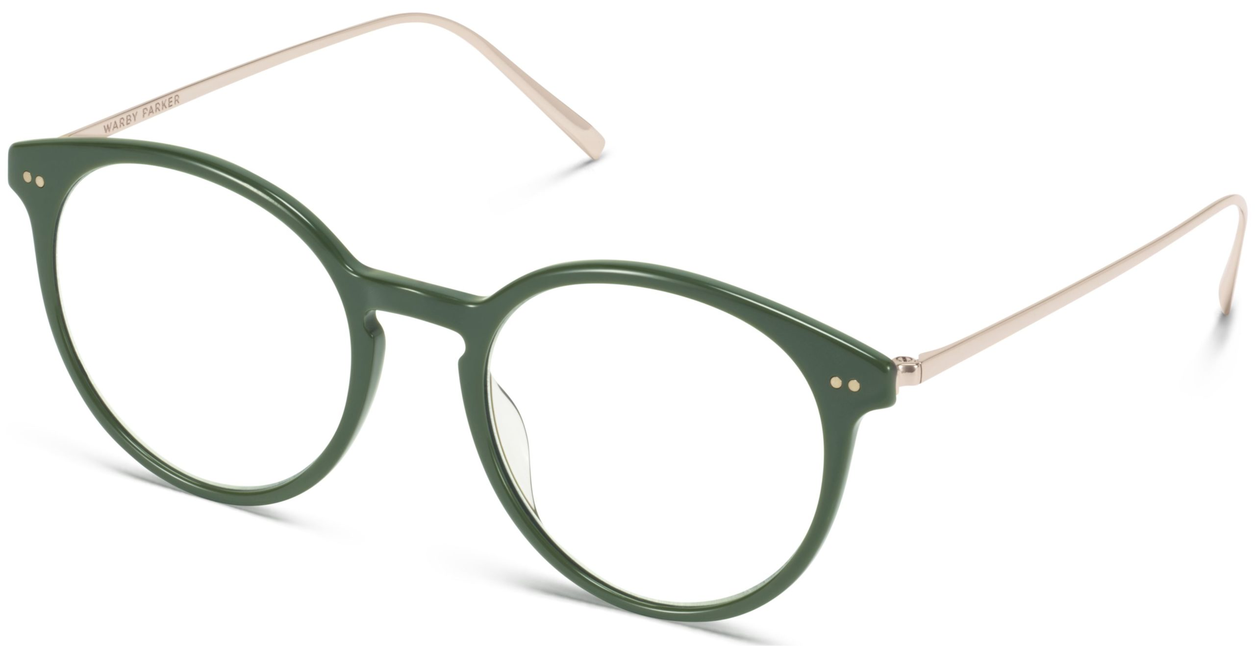 Angle View Image of Langley Eyeglasses Collection, by Warby Parker Brand, in Magnolia Green with Polished Gold Color
