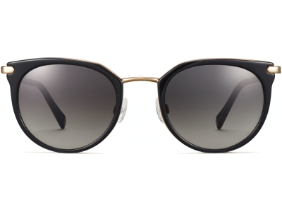 Front View Image of Whittier Sunglasses Collection, by Warby Parker Brand, in Jet Black with Gold Color