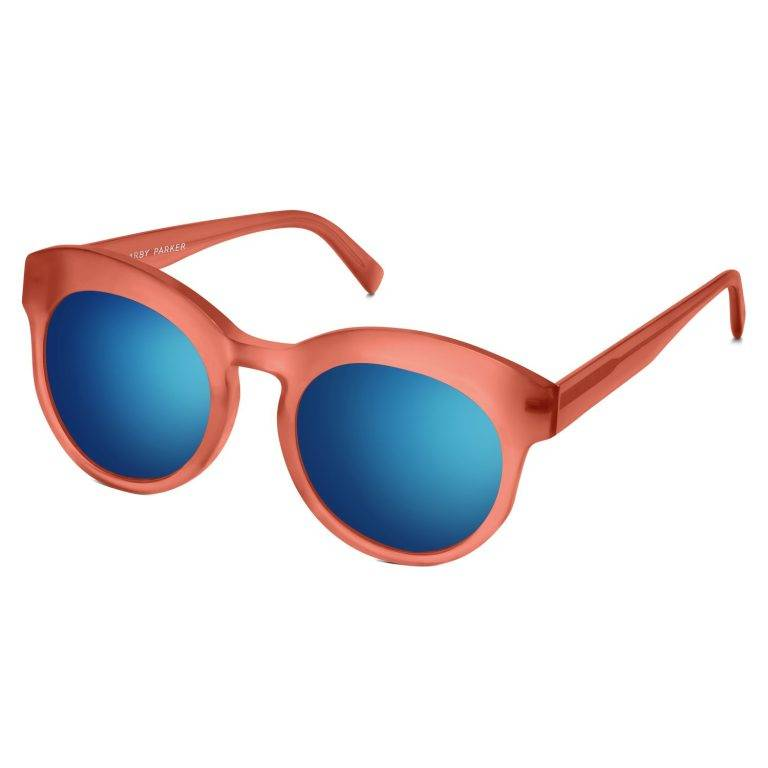 Clementine Sunglasses in Coral with Flash Mirror Cobalt lenses