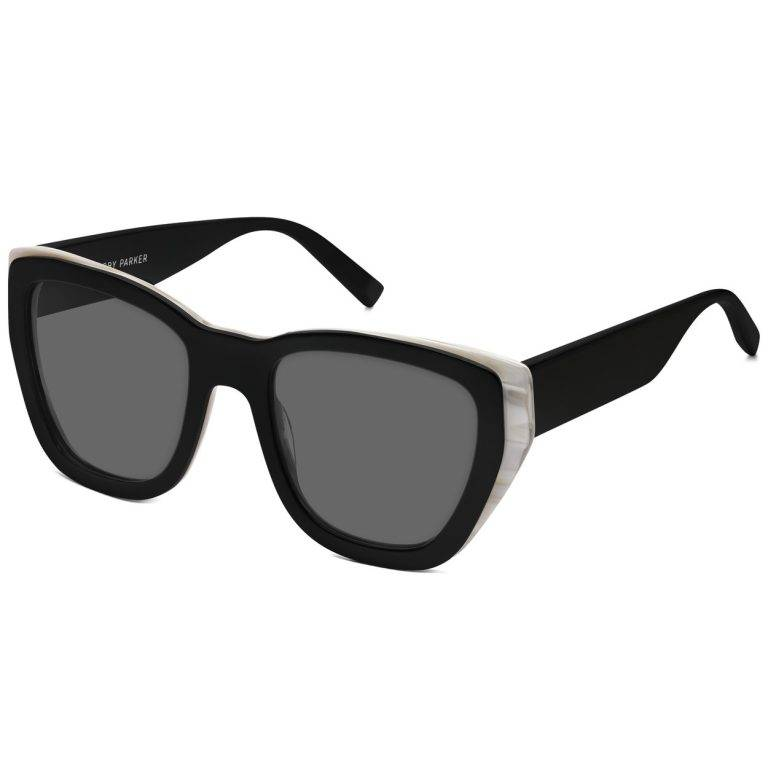 Skye Sunglasses in Jet Black and Ivory Horn with Classic Grey lenses