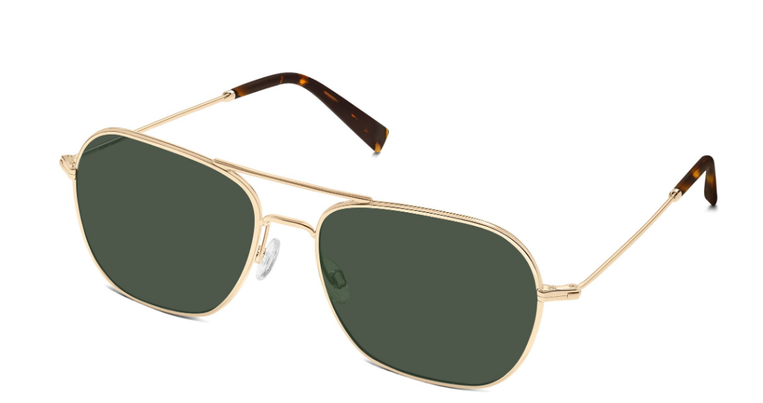 Angle View Image of Abe Sunglasses Collection, by Warby Parker Brand, in Polished Gold Color
