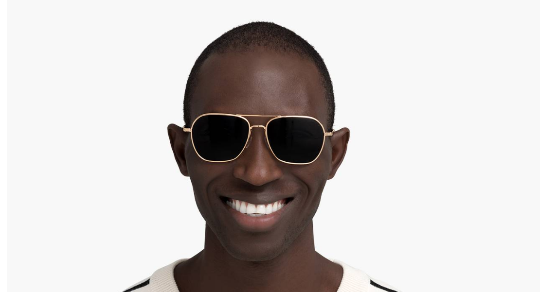 Men Model Image of Abe Sunglasses Collection, by Warby Parker Brand, in Polished Gold Color
